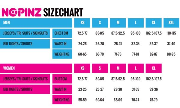 Nopinz Size Chart